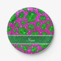 Personalized name neon pink glitter sea turtles paper plate
