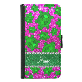 Personalized name neon pink glitter sea turtles samsung galaxy s5 wallet case
