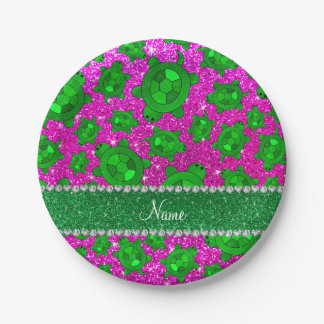Personalized name neon pink glitter sea turtles 7 inch paper plate