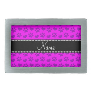 Personalized name neon pink hearts and paw prints rectangular belt buckles