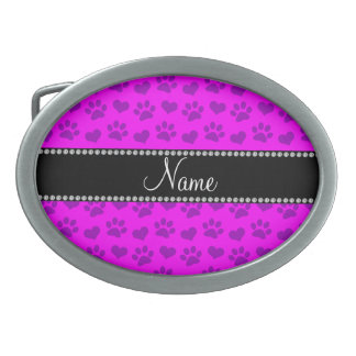 Personalized name neon pink hearts and paw prints oval belt buckles