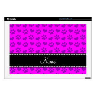 "Personalized name neon pink hearts and paw prints decal for 17"" laptop"