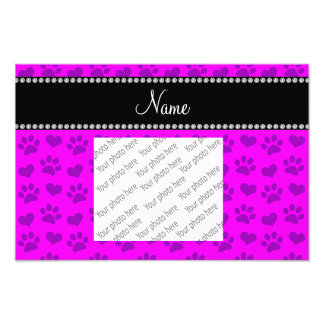 Personalized name neon pink hearts and paw prints photo print