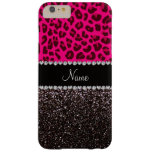 Personalized name neon pink leopard black glitter iPhone 6 plus case