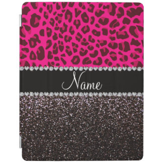 Personalized name neon pink leopard black glitter iPad cover