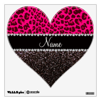 Personalized name neon pink leopard black glitter room graphics