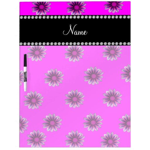 Personalized name neon pink purple pink flowers Dry-Erase boards