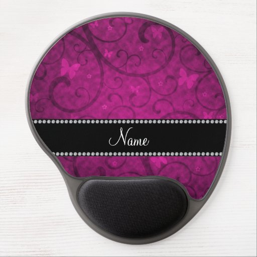 Personalized name neon pink swirls butterfly gel mousepad