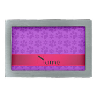 Personalized name neon purple dog paws belt buckles