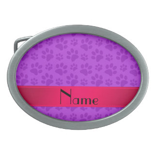 Personalized name neon purple dog paws oval belt buckles