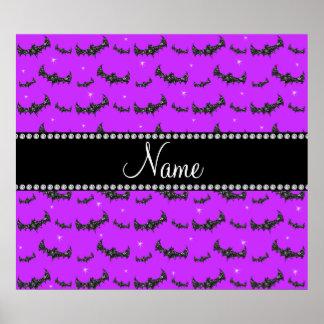 Personalized name neon purple glitter bats poster