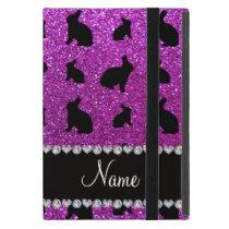 Personalized name neon purple glitter bunny iPad mini cover