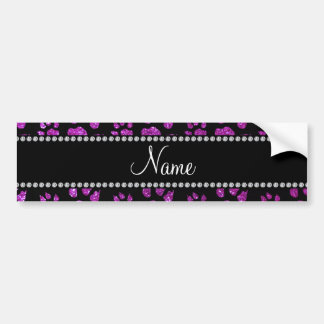 Personalized name neon purple glitter cat paws bumper sticker