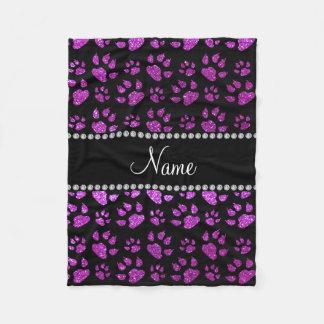 Personalized name neon purple glitter cat paws fleece blanket