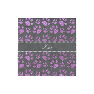 Personalized name neon purple glitter cat paws stone magnet
