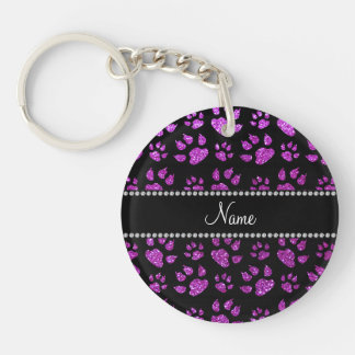 Personalized name neon purple glitter cat paws key chain