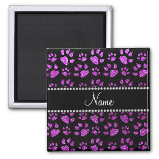 Personalized name neon purple glitter cat paws magnets