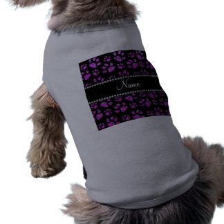 Personalized name neon purple glitter cat paws pet tee