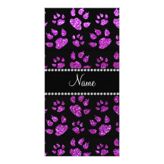 Personalized name neon purple glitter cat paws picture card