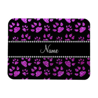 Personalized name neon purple glitter cat paws vinyl magnet