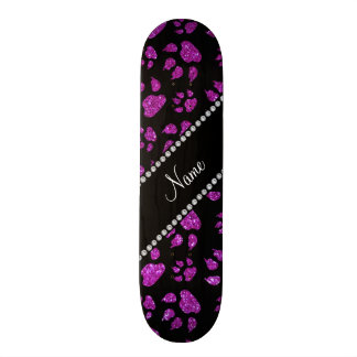 Personalized name neon purple glitter cat paws custom skate board