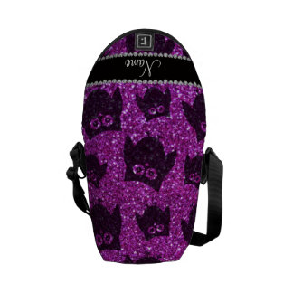 Personalized name neon purple glitter owls courier bag
