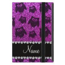 Personalized name neon purple glitter owls iPad mini covers