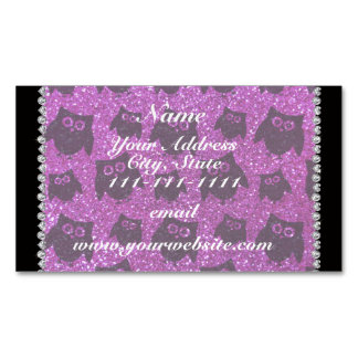 Personalized name neon purple glitter owls magnetic business cards (Pack of 25)