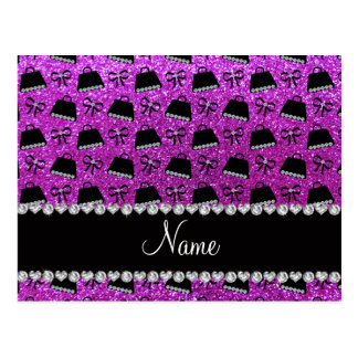 Personalized name neon purple glitter purses bow post cards