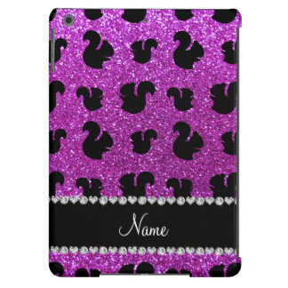 Personalized name neon purple glitter squirrel iPad air cover