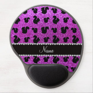 Personalized name neon purple glitter squirrel gel mouse pad