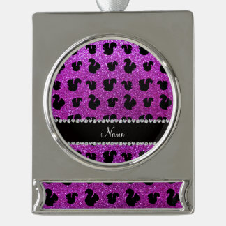 Personalized name neon purple glitter squirrel silver plated banner ornament