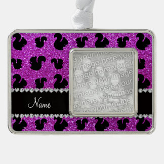 Personalized name neon purple glitter squirrel silver plated framed ornament