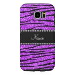 Personalized name neon purple glitter zebra stripe samsung galaxy s6 cases