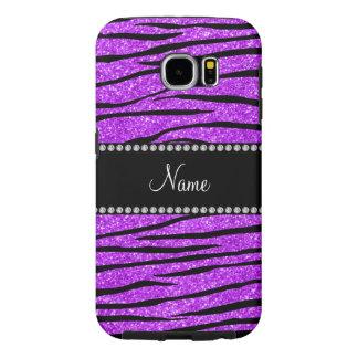 Personalized name neon purple glitter zebra stripe samsung galaxy s6 case