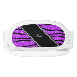 Personalized name neon purple glitter zebra stripe visors