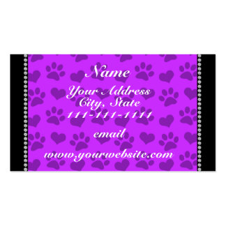 Personalized name neon purple hearts and paw print Double-Sided standard business cards (Pack of 100)