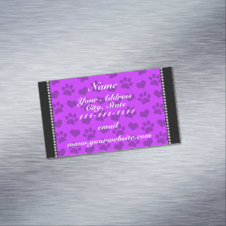 Personalized name neon purple hearts and paw print magnetic business cards (Pack of 25)