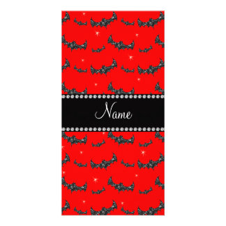 Personalized name neon red glitter bats photo card