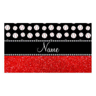 Personalized name neon red glitter black baseball Double-Sided standard business cards (Pack of 100)