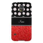 Personalized name neon red glitter black baseball galaxy s5 case