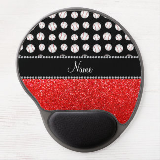 Personalized name neon red glitter black baseball gel mouse pad