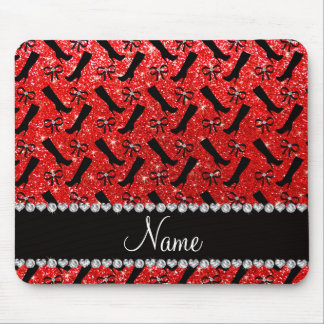 Personalized name neon red glitter boots bows mouse pad