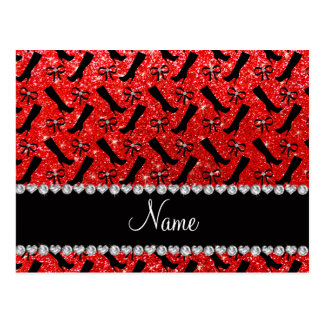 Personalized name neon red glitter boots bows postcard