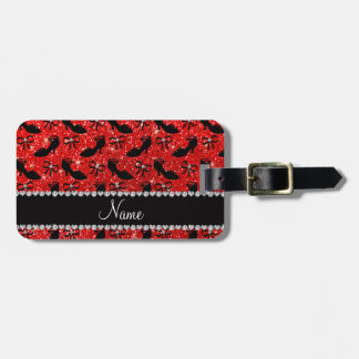 Personalized name neon red glitter fancy shoes bow luggage tag