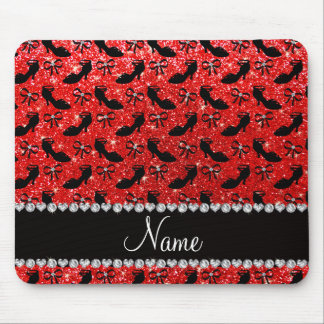Personalized name neon red glitter fancy shoes bow mouse pad