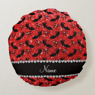 Personalized name neon red glitter fancy shoes bow round pillow