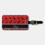 Personalized name neon red glitter flamingos tags for bags