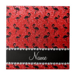 Personalized name neon red glitter flamingos ceramic tile