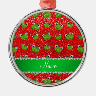 Personalized name neon red glitter frogs metal ornament